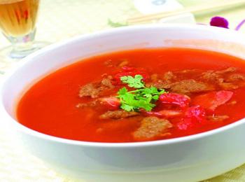 番茄牛肉豆芽汤_食谱大全_寻医问药食疗养生家常菜不辣图片